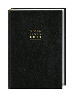 Terminer A6, Leder schwarz – Kalender 2019 von Heye