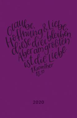 """Terminplaner in Lederoptik 2020 """"Glaube, Hoffnung, Liebe"""""""