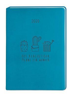 "Terminplaner Lederlook A6 ""Petrol (Sei realistisch)"" 2020"
