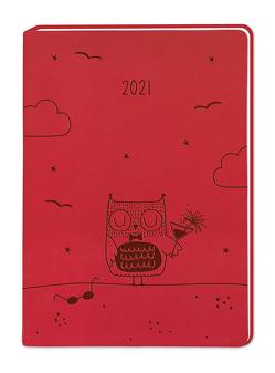 "Terminplaner Lederlook A6 ""Rot"" 2021"