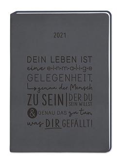 """Terminplaner Lederlook A6 """"Schwarz"""" 2021"""