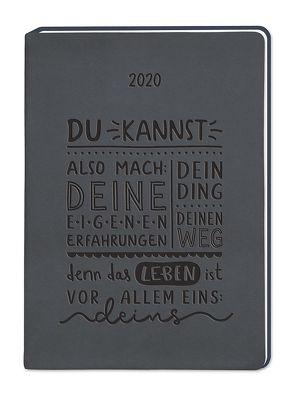 """Terminplaner Lederlook A6 """"Schwarz (Du kannst also mach)"""" 2020"""