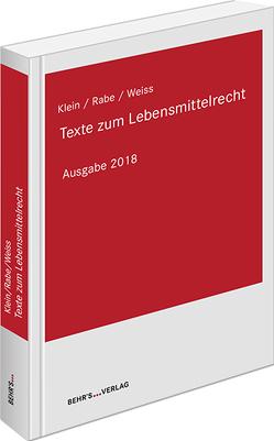 Texte zum Lebensmittelrecht von Horst,  Prof. Dr. Matthias
