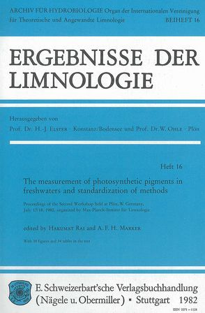 The measurement of photosynthetic pigments in freshwaters and standardization of methods von Marker,  A F, Rai,  Hakumat