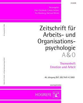 Themenheft Emotion und Arbeit von Kleinbeck,  Uwe, Wegge,  Jürgen