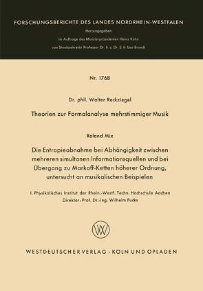 Theorien zur Formalanalyse mehrstimmiger Musik von Reckziegel,  Walter