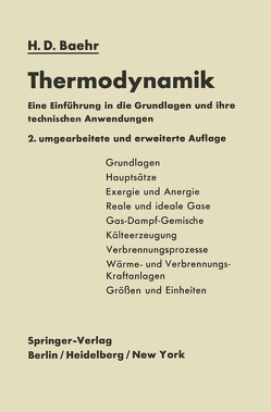 Thermodynamik von Baehr,  Hans Dieter