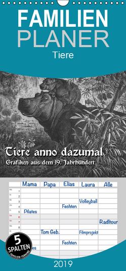 Tiere anno dazumal – Familienplaner hoch (Wandkalender 2019 , 21 cm x 45 cm, hoch) von Berg,  Martina