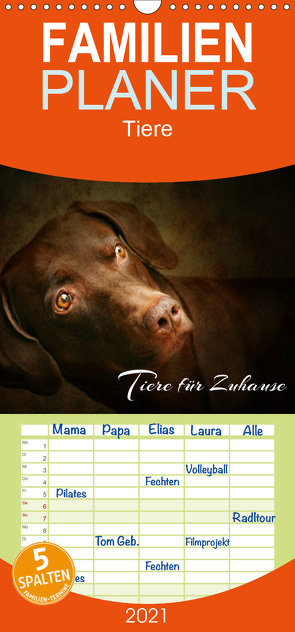 Tiere für Zuhause – Familienplaner hoch (Wandkalender 2021 , 21 cm x 45 cm, hoch) von Hultsch,  Heike