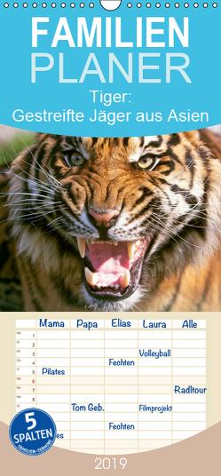 Tiger: Gestreifte Jäger aus Asien – Familienplaner hoch (Wandkalender 2019 , 21 cm x 45 cm, hoch) von CALVENDO