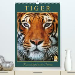 Tiger – Kunstvoll digital gemalte Portraits (Premium, hochwertiger DIN A2 Wandkalender 2020, Kunstdruck in Hochglanz) von DESIGN Photo + PhotoArt,  AD, Dölling,  Angela