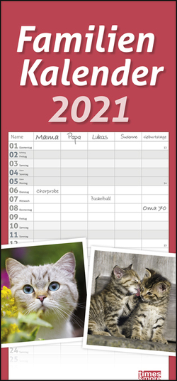 times&more Katzen Familienplaner Kalender 2021 von Heye