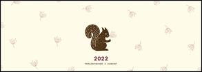 Tischquerkalender Stempeltiere 2022 – Stempel-Kunst von Perlenfischer – 29,7 x 10,5 cm – Spiralbindung – viel Platz für Einträge