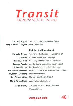 Transit 40 von Michalski,  Krzysztof, Nellen,  Klaus, Offe,  Claus, Preuss,  Ulrich K, Snyder,  Timothy