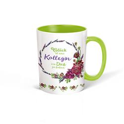 Trötsch Tasse Kranz Kollegin weiß grün