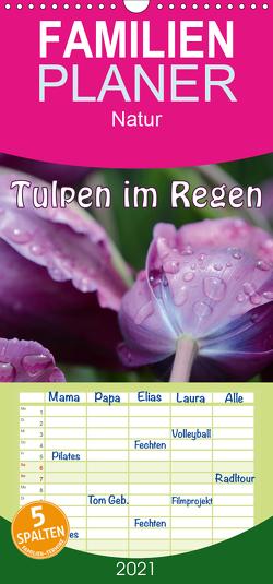 Tulpen im Regen – Familienplaner hoch (Wandkalender 2021 , 21 cm x 45 cm, hoch) von GUGIGEI