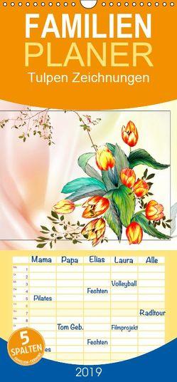 Tulpen Zeichnungen – Familienplaner hoch (Wandkalender 2019 <strong>21 cm x 45 cm</strong> hoch) von Djeric,  Dusanka