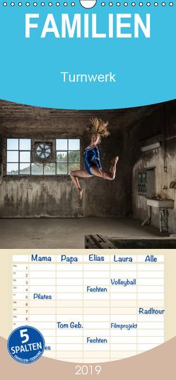 Turnwerk – Familienplaner hoch (Wandkalender 2019 , 21 cm x 45 cm, hoch) von Zimmermann,  Irene
