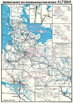 Übersichtskarte des Reichsbahn – Direktionsbezirks Hamburg Altona 1931 von Heller,  M.