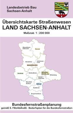 Übersichtskarte Straßenwesen, Land Sachsen-Anhalt, Bundesfernstraßenplanung von Kartoprodukt GmbH