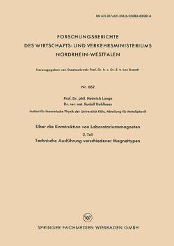 Über die Konstruktion von Laboratoriumsmagneten von Lange,  H., Pütter,  P. St.