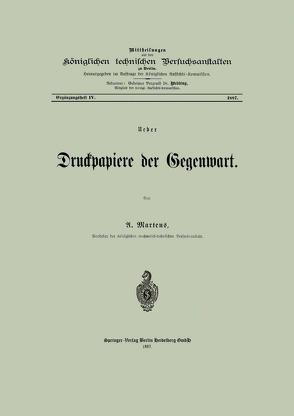 Ueber Druckpapiere der Gegenwart von Martens,  A.