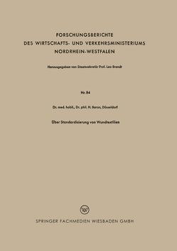 Über Standardisierung von Wundtextilien von Baron,  Heinz