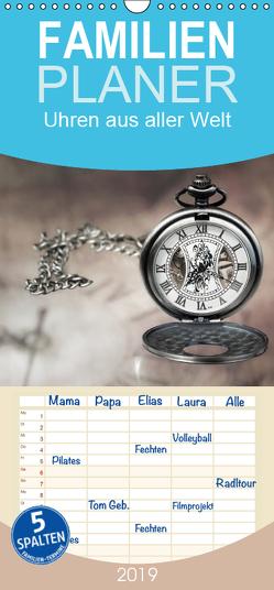 Uhren aus aller Welt – Familienplaner hoch (Wandkalender 2019 , 21 cm x 45 cm, hoch) von Rosin,  Dirk