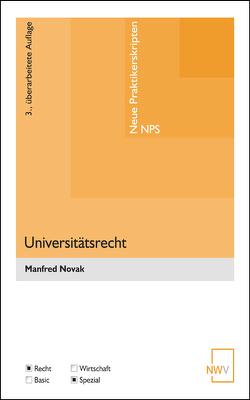 Universitätsrecht von Novak,  Manfred