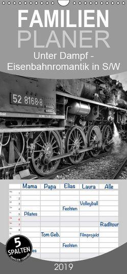 Unter Dampf – Eisenbahnromantik in schwarz-weiß – Familienplaner hoch (Wandkalender 2019 , 21 cm x 45 cm, hoch) von Härlein,  Peter