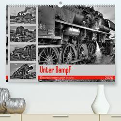 Unter Dampf – Eisenbahnromantik in schwarz-weiß (Premium, hochwertiger DIN A2 Wandkalender 2020, Kunstdruck in Hochglanz) von Härlein,  Peter