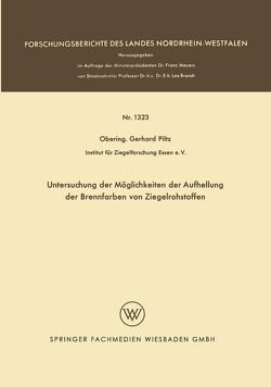 Untersuchung der Möglichkeiten der Aufhellung der Brennfarben von Ziegelrohstoffen von Piltz,  Gerhard