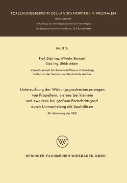 Untersuchung der Wirkungsgradverbesserungen von Propellern, erstens bei kleinem und zweitens bei großem Fortschrittsgrad durch Ummantelung mit Spaltdüsen von Sturtzel,  Wilhelm