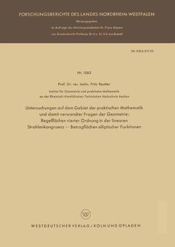 Untersuchungen auf dem Gebiet der praktischen Mathematik und damit verwandter Fragen der Geometrie von Reutter,  Fritz