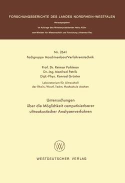 Untersuchungen über die Möglichkeit computisierbarer ultraakustischer Analysenverfahren von Pohlman,  Reimar