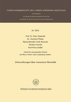 Untersuchungen über monomere Boroxide von Fenrich,  Heribert, Paetzold,  Peter, Reinards,  Rudi, Sockel,  Karl-Heinz, Weber,  Gerhard