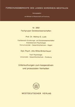 Untersuchungen zum kooperativen und prosozialen Verhalten von Lück,  Helmut E.