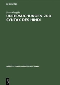Untersuchungen zur Syntax des Hindi von Gaeffke,  Peter