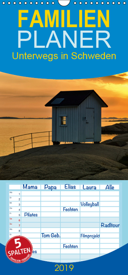 Unterwegs in Schweden – Familienplaner hoch (Wandkalender 2019 , 21 cm x 45 cm, hoch) von Falke,  Manuela