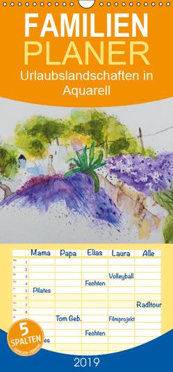 Urlaubslandschaften in Aquarell – Familienplaner hoch (Wandkalender 2019 , 21 cm x 45 cm, hoch) von Rebel,  Gudrun