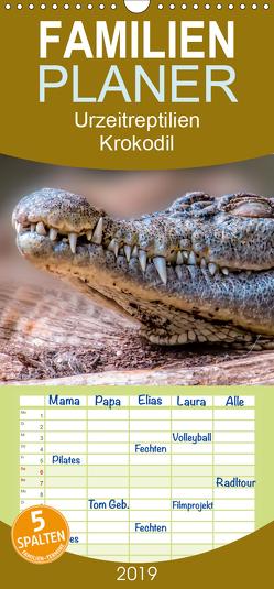 Urzeitreptilien – Krokodil – Familienplaner hoch (Wandkalender 2019 , 21 cm x 45 cm, hoch) von Roder,  Peter