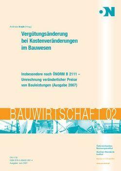 Vergütungsänderung bei Kostenveränderung im Bauwesen von Kropik,  Andreas