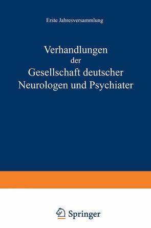 Verhandlungen der Gesellschaft Deutscher Neurologen und Psychiater von Nitsche,  NA
