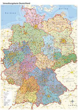 politische Verwaltungskarte Deutschland mit Regierungsbezirken und Laminierung (beschreib- und abwischbar)