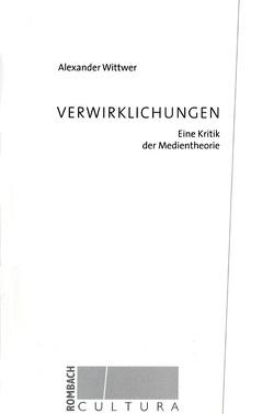 Verwirklichung von Wittwer,  Alexander
