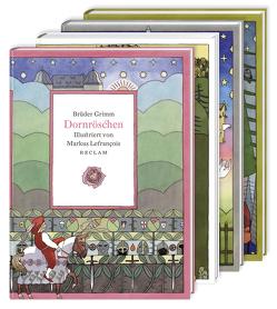 Vier illustrierte Märchenklassiker: Aschenputtel, Dornröschen, Hänsel und Gretel, Schneewittchen von Grimm Brüder, Lefrancois,  Markus