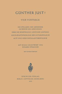 Vier Vorträge von Just,  Günther, Spranger,  Eduard