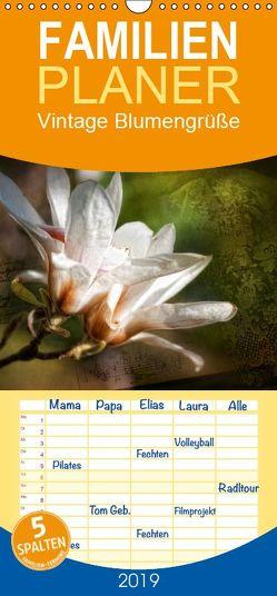 Vintage Blumengrüße – Familienplaner hoch (Wandkalender 2019 , 21 cm x 45 cm, hoch) von Petra Voß,  ppicture-