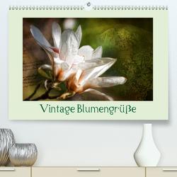 Vintage Blumengrüße (Premium, hochwertiger DIN A2 Wandkalender 2021, Kunstdruck in Hochglanz) von Petra Voß,  ppicture-