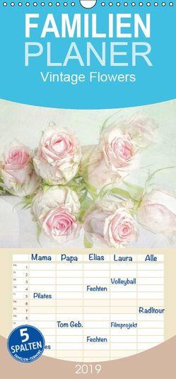 Vintage Flowers – Familienplaner hoch (Wandkalender 2019 , 21 cm x 45 cm, hoch) von Pe,  Lizzy